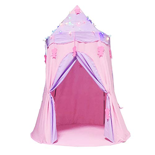 ZHONGXIN Kids Play Prince Castle Tent, Portable Collapsible Natural Cotton Canvas Children's Tent Playhouse Girls/Boys Children Bed Tents (Pink)