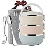 Mr.Dakai 3 Tier Stainless Steel Thermal Lunch Bento Box With Tableware Set, Stackable Insulated...