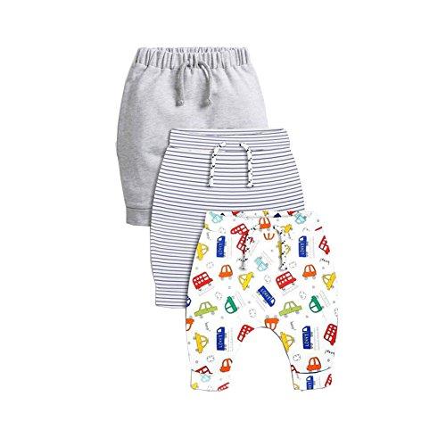 CuteOn 3 Paquete Unisexo Niños Niñito Harén Pantalones Algodón Elástico Pantalones Azul 24 Meses