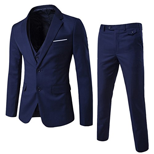 Allthemen Herren 3-Teilig Slim Fit Anzug Zwei Knöpfe Business Sakko, Marine Blau, M