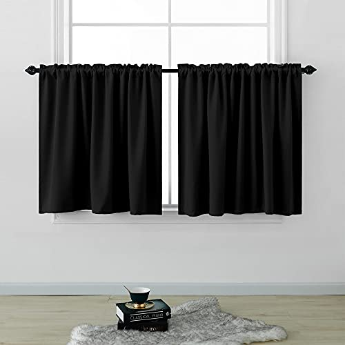 KOUFALL Short Curtains 30 Inches Long for Bathroom Set of 2 Panels Cafe Tier Curtains Blackout Room Darkening Rod Pocket Black Curtains 30 Inch Length for Small Windows Kitchen 52x30