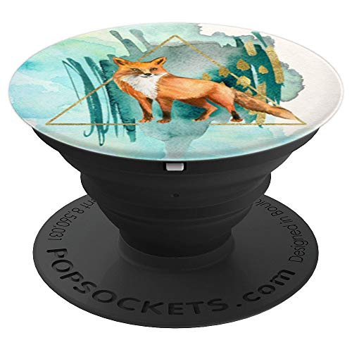 Watercolor Fox Art Print PopSockets Grip and Stand for Phones and Tablets