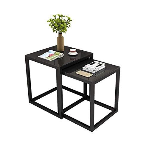 KSW_KKW Tavolino Nesting Piccolo, tavolini Estraibili in Vetro temperato Nero Set di 2 for Soggiorno Tavolini Snack con estremità Laterali