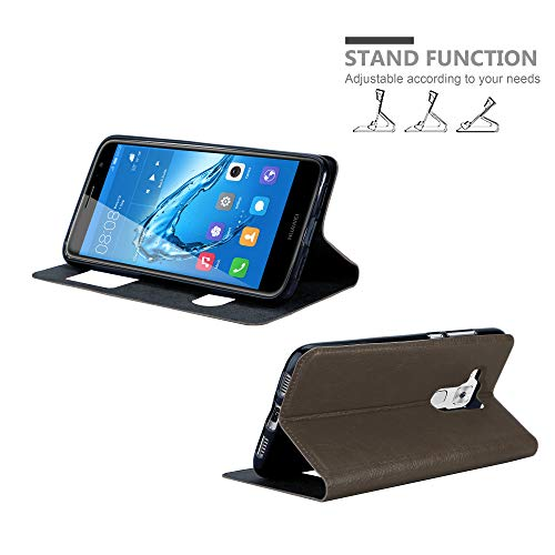 Cadorabo Hülle für Huawei NOVA Plus - Hülle in Stein BRAUN – Handyhülle im Standfunktion und 2 Fenstern (View Design) - Case Cover Schutzhülle Etui Tasche Book Klapp Style - 3