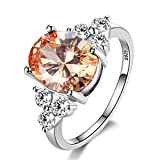MKSW RingWomen's Jewelry 925 Sterling Silver Ring White Pink Light Blue Zircon Oval Wedding Ring 6 Champagne