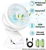 Ventilatore Portatile, Mini Ventilatore USB, Ricaricabile Ventilatore, Rotazione a 360° Quiet Wind per Passeggino, Casa, Scuola, Ufficio (Bianco)