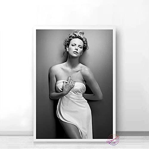 Aishangjia Charlize Theron Poster Attrice Star del Cinema Modello Canvas Art Bar Immagine da Parete in Bianco e Nero per Vivere Home Decor Regalo 40x50 cm (15,74x19,68 in) J-3315