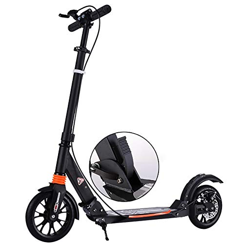 Why Choose Scooters Kick for Adults/Teens, Adjustable Handlebars Folding with Disc Brakes & 200mm Big PU Wheels, Support 150KG (Color : Black)