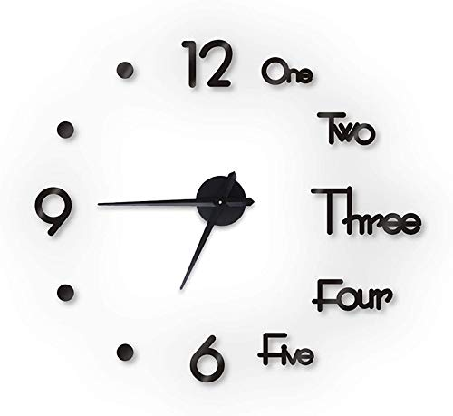 JFFFFWI Sweeping Seconds DIY Wall Clock,Minimalist Mute Not-ticking 3d Wall Clock Stickers For Living Room-Black S