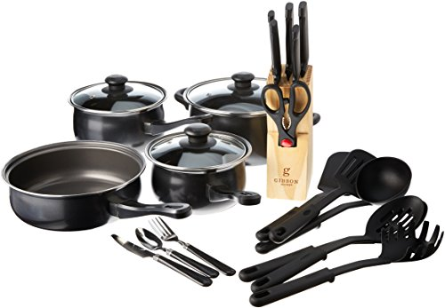 Gibson Home Back to Basics Carbon Steel Cookware Set, 32-Piece, Black