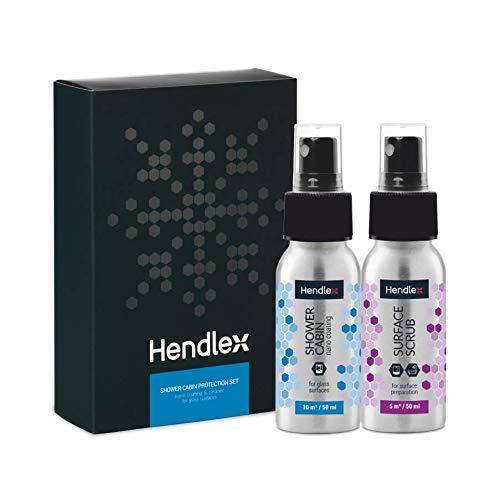 Hendlex Wasserabweisende Nanobeschichtung fur Badezimmer-, Duschtürschutz, Duschkabine 50 ml + Oberfläche Reiniger Scrub 50 ml