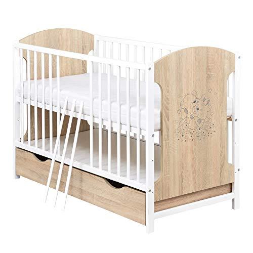Baby Delux Babybett Kinderbett 120x60 Sonoma Weiß mit Bärchen Motiv inkl. Schublade und Matratze