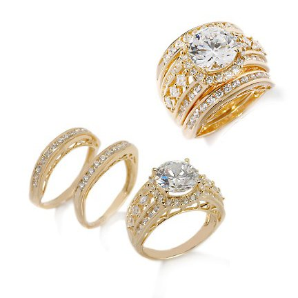 Vermeil Victoria Wieck Absolute Wedding Ring or Band 3 Piece Set Size 5 - Gold over Sterling Silver (Sizes 5,6,7,8,9,11)