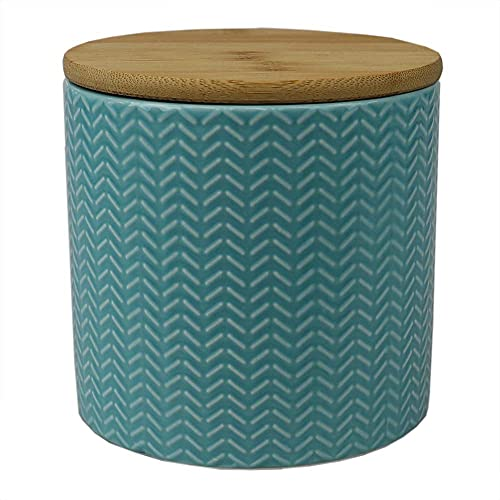 Home Basics Attractive & Sturdy Ceramic Canister (Small, Turquoise)