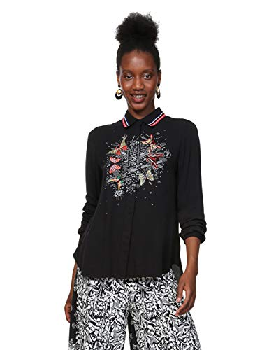 Desigual Damen Shirt Long Sleeve DINIA Woman Black Hemd, Schwarz (Negro 2000), Large