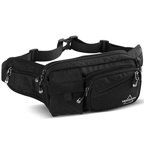 MOSSLIAN Fanny Pack.Multiple Packs Waist Pack- 6 packs,large size Bum Bag,Waterproof Nylon.Fashion Belt Bag for men&women, Perfect for Festival, Travel,Running,Hiking