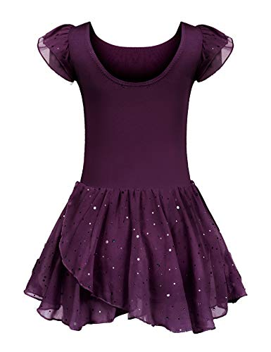 Kinder Ballettkleidung Ballettkleid Mädchen Kurzarm Baumwolle Balletttrikot Ballettanzug Tanzkleid Tanzbody mit Rock Tütü (Lila B, 120/3-4 Jahre)