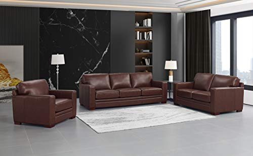 Hydeline Dillon 100% Leather Sofa, Loveseat and Chair Set, Brown