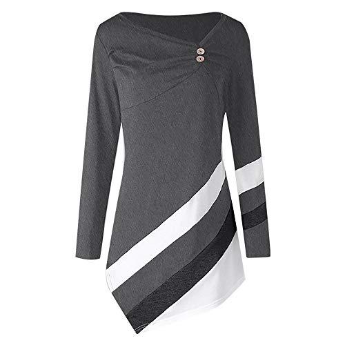 JUTOO Frauen Striped Tops Asymmetrisches Hemd Plus Size Bluse T-Shirts,Schwarz, Weinrot, Dunkelblau, Grau, Rot,S-5XL (XL)