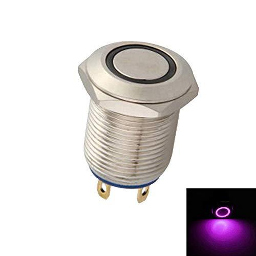 Mintice™ 12mm Lumière violet de LED 2A Momentané Bouton poussoir Interrupteur Acier inoxydable Imperméable Voiture Bateau