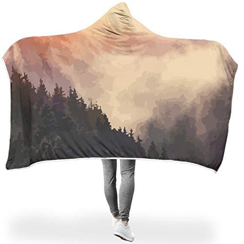 Zhcon Landschaft PersonalityHome Hooded Throw Wrap Ultra Weich Und Warm Wohndecke Winter Kuscheldecke Für Erwachsene Und Kinder White #60 * 40#