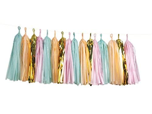 16 X Originals Group Mint Pink Gold Apricot Tissue Paper Tassels for Party Wedding Gold Garland Bunting Pom Pom