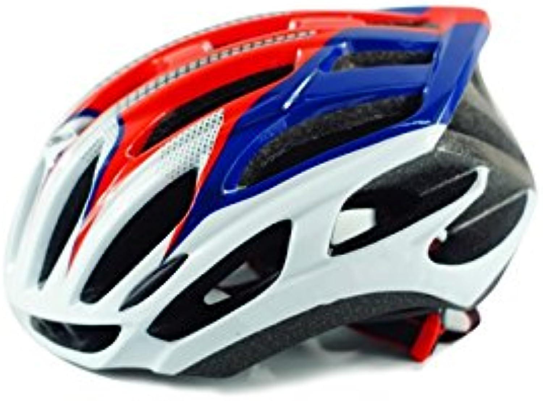 Cycling Adult Adjustable Bike Helmet Pgoldus Ventilation Helmet OnePiece Bicycle Helmet(blueee+White+Red) for Sports