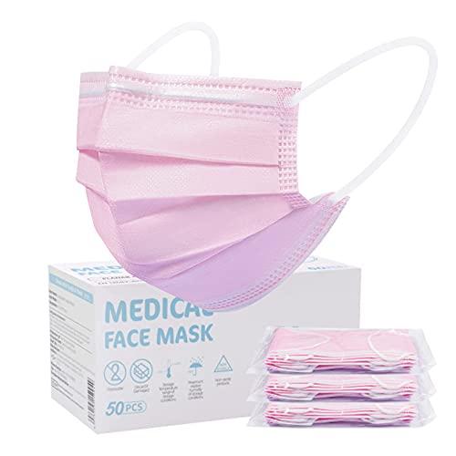 Rousing Medizinische Masken Mundschutz TYP IIR CE Zertifizierte 50 Stück Einweg-Gesichtsmaske - 3 Lagig Mund Nasen Schutzmaske - Einweg-Mundschutz EN 14683 Maske Schutzmaske für Erwachsene