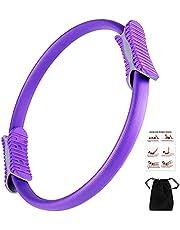 Pilates Ring -Magic Fitness Sport Ring Yoga Ring met 2 anti-slip handgrepen voor het versterken van de buitenste dijen/armen, bekkenbodemtrainer met workout poster & tas voor thuis kantoor studio