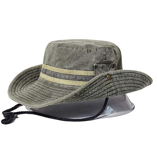 Kuletieas Gorro Pescador Pesca Senderismo Sombrero para el Sol Hombres Mujeres Boonie Sombrero de ala Ancha Sombrero de Cubo Safari al Aire Libre Gorra de Verano Sombrero de Cubo de algodón