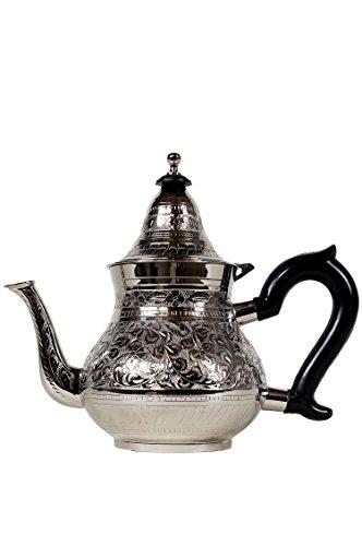 Marokkanische Teekanne aus Messing versilbert 1000ml mit Sieb und Kunststoffgriff | Orientalische Kanne Abidin 1L silberfarbig mit Deckel | verschiedene Grössen | (1000ml)