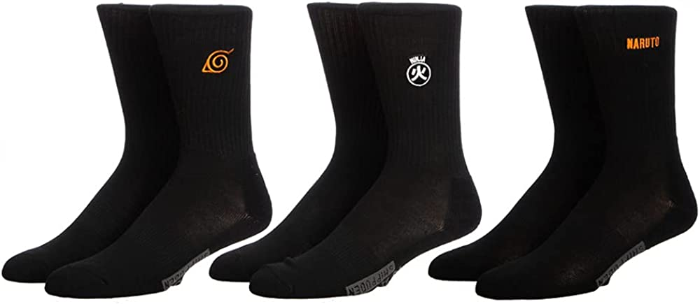 Naruto Mens 3 Pack Embroidered Sock Set