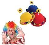Kid Fun French Clown Hat & Rainbow Clown Wig 2 Piece Bundle Set