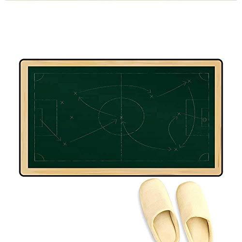 Kinhevao Tapis de Bain Diagramme Tactique avec Passe et Disposition des buts Attaque Défendre Les Tapis de Porte en Ardoise pour Tapis de Salle de Bain intérieur Support antidérapant Beige Vert foncé