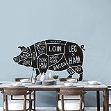 Cortes de diseño de vaca vinilo pared calcomanía cocina restaurante decoración carniceros animales pared pegatina vaca cuerpo cortes ventana poter 57x35cm