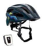 Casco de bicicleta para niños ajustable de tamaño infantil a juvenil | Tamaño 54-58 | Precioso casco de bicicleta para niños y niñas | Luz LED incorporada recargable | Tiras reflectantes | CE