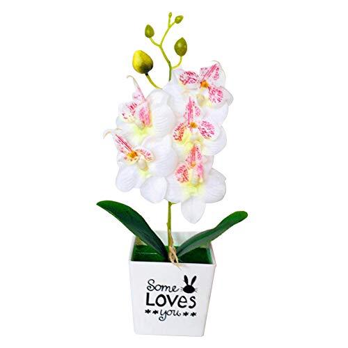 KingbeefLIU Flor con Maceta Artificial Mariposa Orquídea Bonsai Decoración Falsa De Muebles para El Hogar Blanco