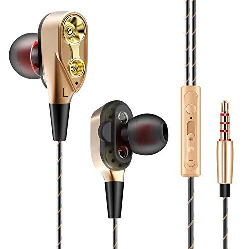 Yuxahiug Dual Drive con Cable de 3,5 mm en la Oreja los Auriculares estéreo en la Oreja los Auriculares Auricular Cable Bass Teléfono (Color : Gold)
