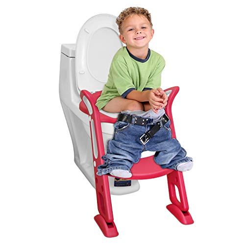 補助便座 子供, Kennifer トイレトレーナートイレトレーニング 補助便座 おまる PUパッド,尿がしぶき防止 折りたたみ 取外し可能 ステップ式 ベビー 踏み台 (ピンク)