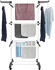 Toworld Clothes Drying Rack Folding Clothes Rail 3 Tier Clothes Horses Rack Stainless Steel Laundry Garment Dryer Stand with Two Side Wings Grey