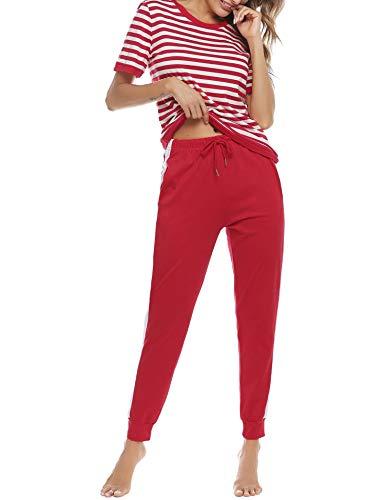 Akalnny 2 Teiliger Freizeitanzug Damen Jogginganzug Sommer Trainingsanzug Baumwolle Freizeitanzug mit Gummizug Pullover Top und Hose Sportanzug Yoga Casual Pyjama Hausanzug(Rot,S)