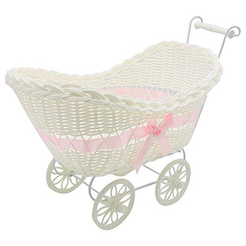 SAFRI LARGE BABY PRAM HAMPER WICKER BASKET BABY SHOWER PARTY GIFTS BOYS GIRLS NEW BORN (Pink)