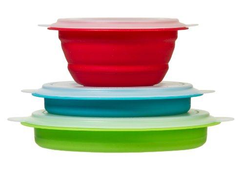 Prepworks by Progressive Collapsible Prep and Storage Bowls with Lids - Set of 3 Collapsible Bowls Meal Prep Food Storage Microwave Safe Freezer Safe Dishwasher Safe
