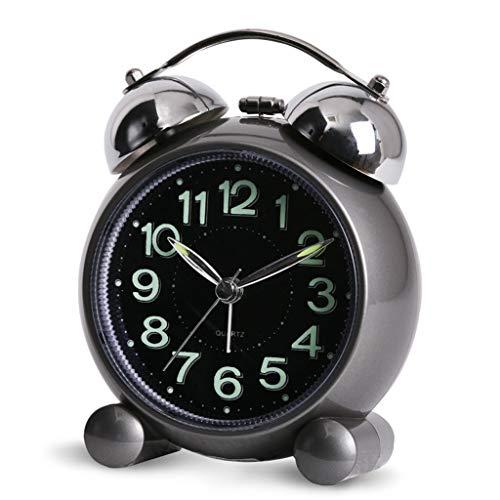 XXT Creative student nachtkastje leuke persoonlijkheid mechanische beltoon mode snooze stil alarm clock (Color : Black)