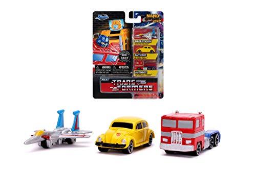 Jada Toys 253111005 Transformers 3er Nano Sammelautos aus Die-cast Optimus Prime, Starscream, G1 Bumblebee VW Beetle, Spielzeugautos, Set, 4 cm, ab 8 Jahren