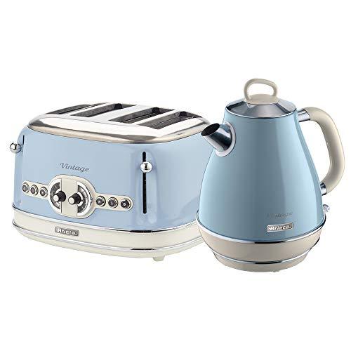 Ariete ARPK21 Retro Style Jug Kettle and 4 Slice Toaster Set, Vintage Design, Blue