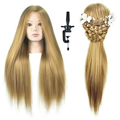Friseur-Trainingskopf von WanSi Cosmetology, Haarlänge 66 cm, zum Üben von Flechten, Styling, mit Klemmen