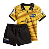 Maillot de Rugby pour Enfants, Highlanders/Croisés/ouragan/Chef/Blues/Tout Noir/Irlande/Angleterre/Tonga Rugby Polo Shirt Training T-Shirt, Supporter Football Sport Top-Hurricane-XL