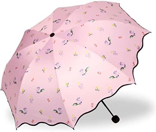 ZGLXZ Paraguas plegable de vinilo resistente y duradero, paraguas para mujer con protección solar UV portátil (color # 3) (# 2 m)