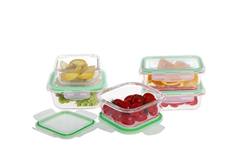 Farberware Microwave & Oven Safe Glass Container Food Storage Set with Locking Lids (10 Piece), Clear/Green